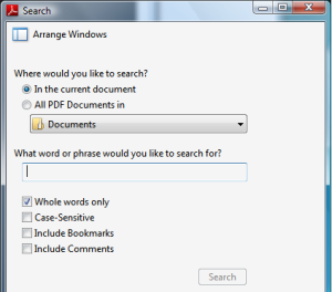 Acrobat Reader Search window