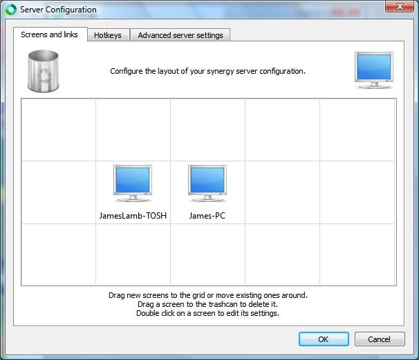 Synergy Server Configuration screen